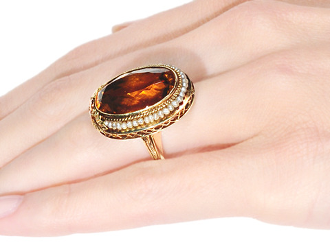 Edwardian Citrine and Pearl Cluster Ring