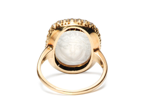 Remarkable Antique Carved Moonstone Ring
