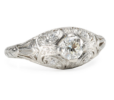 Curvaceous Diamond Platinum Ring