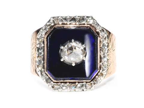 Splendid Georgian Blue Enamel Diamond Ring