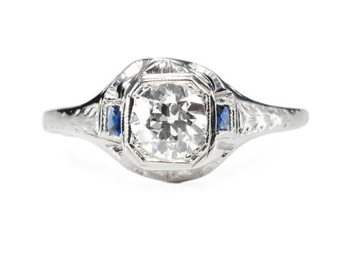 Rarefied Air - Antique Diamond Sapphire Ring