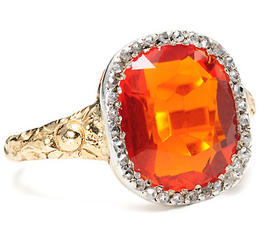 Flames & Ice: Fire Opal and Diamond Ring