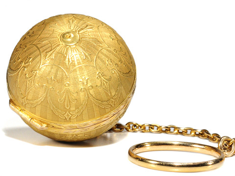 Antique Compact with Mirror Pendant