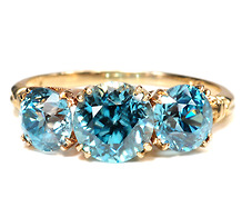 Fireworks In Blue - Vintage Zircon Ring