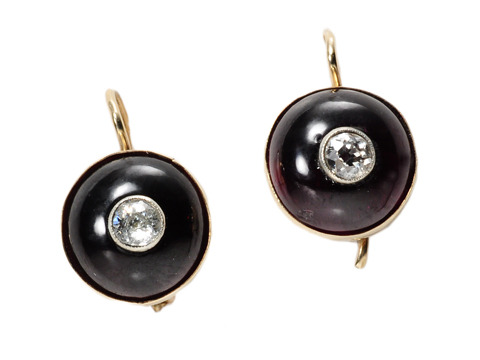 Choice Edwardian Garnet & Diamond Earrings