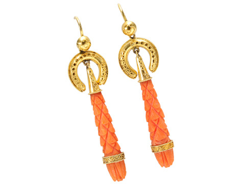 Victorian Antique Coral Earrings