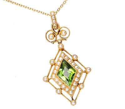 Delicacy Unfolded: Antique Peridot Pearl Pendant