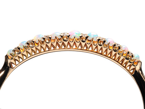 Edwardian Fireworks: Opal Diamond Bangle