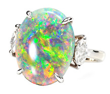 Symphony of Color: Black Opal Diamond Ring