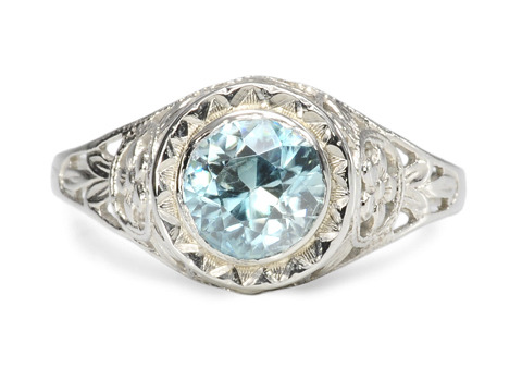 Darling Art Deco Blue Zircon Ring
