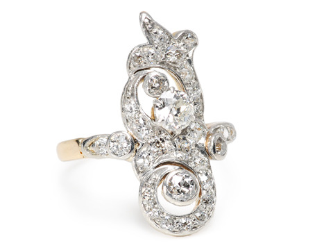 Shimmering Swirls: Diamond Set Ring