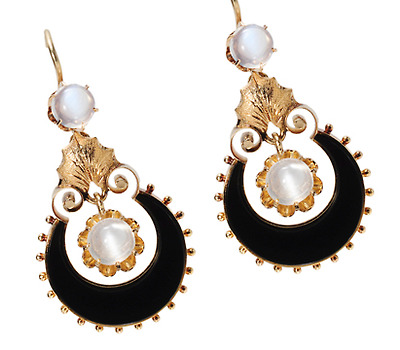 Moonrise: Victorian Moonstone & Onyx Earrings