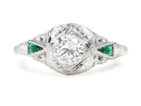 Striking Vintage Diamond & Emerald Ring
