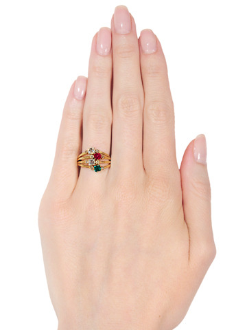 Victorian Diamond Ruby Emerald Harem Ring