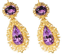Georgian Gossamer Amethyst Cannetille Earrings