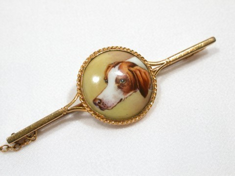Edwardian Enamel Dog Bar Brooch