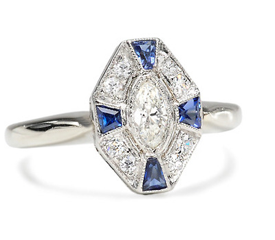 Striking Petite Diamond Sapphire Ring