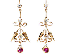 Candlelight Chandelier: Diamond Ruby Earrings