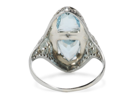 Fancy is: Art Deco Aquamarine Diamond Ring