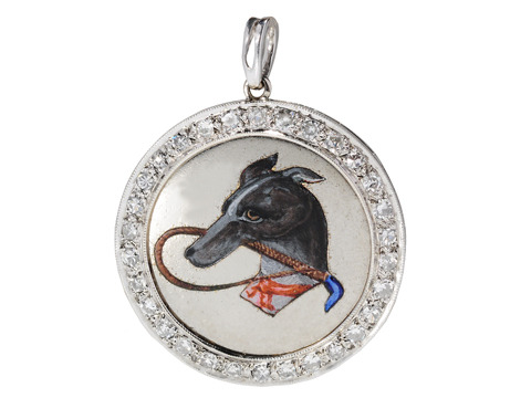 Art Deco Dog Pendant with Diamonds