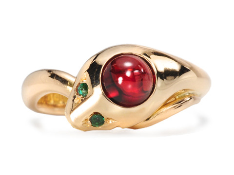 Hallmarked Edwardian Garnet Emerald Snake Ring