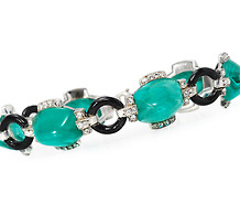 Art Deco Suave: Green Paste & Black Enamel Bracelet
