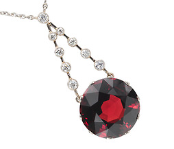 1950s Brilliance: Garnet Diamond Pendant Necklace