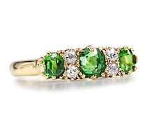 Early Spring: Antique Demantoid Garnet Diamond Ring