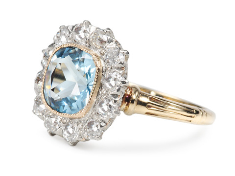 Platinum & Gold in a Diamond & Aquamarine Cluster Ring