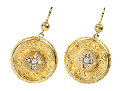 Sun Discs: Archaeological Revival Diamond Pearl Earrings
