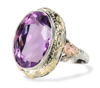 Dramatic Art Deco Amethyst Tri Color Ring