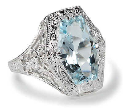 Fancy Filigree Aquamarine Ring