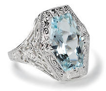 WG Filigree Aquamarine Ring