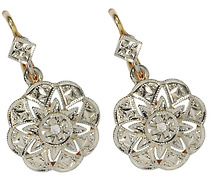 Antique French Diamond Drop Earrings