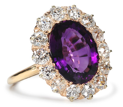 Scintillation - Antique Amethyst Diamond Ring