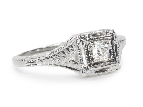 American Art Deco Solitaire Diamond Ring