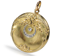 Romantic Moon & Stars Edwardian Locket Pendant