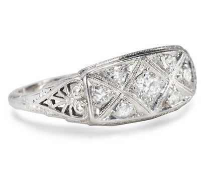 Luscious 1940s Diamond Platinum Ring