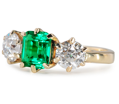 Sumptuous Art Deco Emerald Diamond Ring