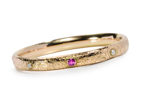 Riker Brothers Ruby Diamond Bangle Bracelet