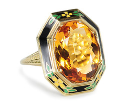 Art Deco Dandy - Citrine Enamel Ring