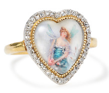 Antique Portrait Miniature Ring of a Fairy