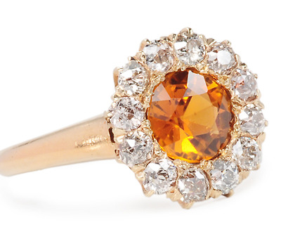 Antique Golden Hessonite Garnet Diamond Ring
