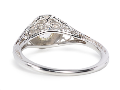Gold Lacework: Solitaire Diamond Filigree Ring
