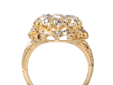 Spectacular Victorian Shaped Diamond Cluster Ring