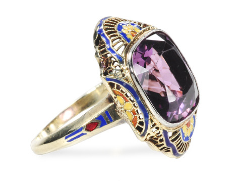 Luscious Art Deco Amethyst Enamel Ring