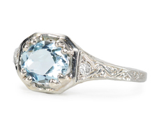 Artistic Art Deco Aquamarine Ring