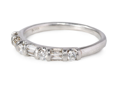 Platinum Half Eternity Band Wedding Ring