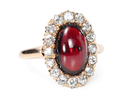 Glorious Antique Garnet Diamond Cluster Ring