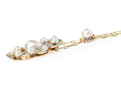 Edwardian Springtime: Pearl Demantoid Necklace